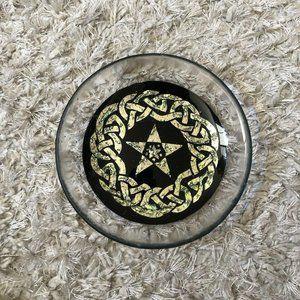 Vintage Star Shaped Pottery Carved Black Gold Ware